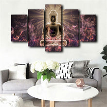 Load image into Gallery viewer, Posters and Prints Wall Art Canvas Painting 5Panels The Buddha Light Illuminating Wall Pictures for Living Room Home Decoration - SallyHomey Life's Beautiful