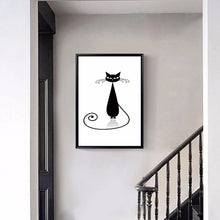 Load image into Gallery viewer, Modern Abstract  Canvas Painting Digital Printed Handlebar Cartoon Cat Canvas Painting Art for Living room Home Decor Unframed - SallyHomey Life's Beautiful