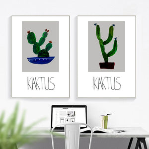 Cartoon Green Potted Cactus Quotes Wall Art Canvas Painting Nordic Posters And Prints Plants Wall Pictures For Living Room Decor - SallyHomey Life's Beautiful
