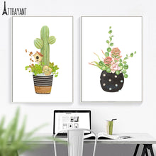 Load image into Gallery viewer, Tropical Succulents Cactus Aloe Flower Wall Art Canvas Painting Nordic Posters And Prints Wall Pictures For Living Room Decor - SallyHomey Life's Beautiful