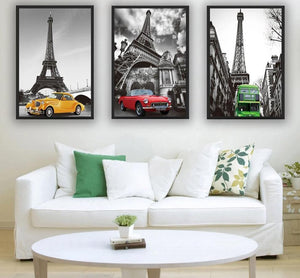 Paris Eiffel Tower Poster Minimalist Art Canvas Painting A4 Black White Cityscape Wall Picture Print Modern Home Office  Decor - SallyHomey Life's Beautiful