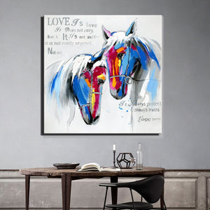 Abstract Canvas Painting Love Of Two Horses Digital Printed Poster Wall Picture for Living Room Wall Decoration Home Decor Gift - SallyHomey Life's Beautiful