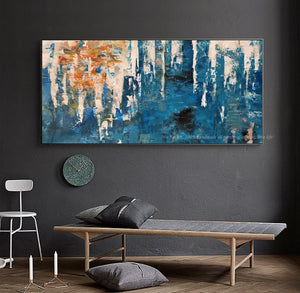 Oil painting on canvas handmade blue texture modern abstract art original  laminas de cuadros pared decorativas horizontales - SallyHomey Life's Beautiful