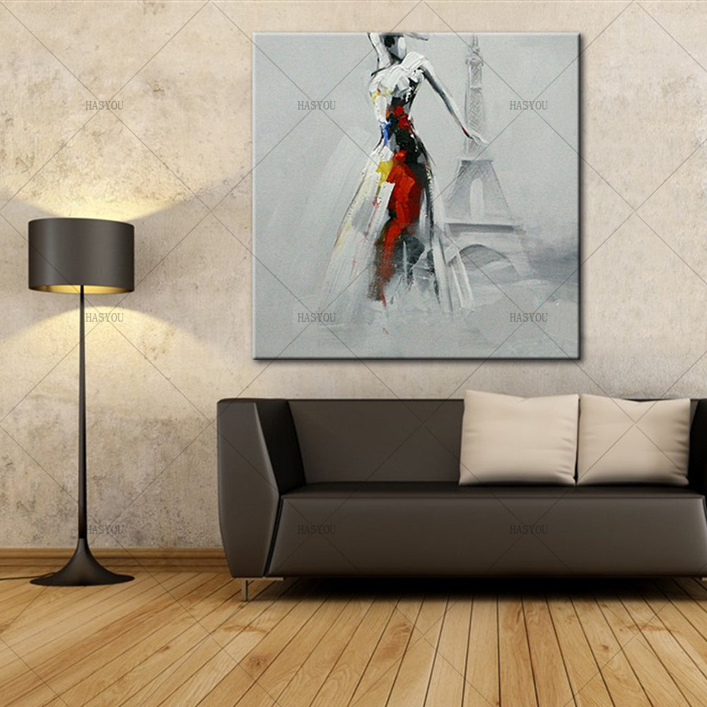 beautiful girl in the Eiffel Tower Oil Paintings on Canvas  picture for Home Decoration chrismas gift - SallyHomey Life's Beautiful