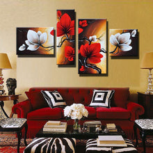 Load image into Gallery viewer, Modern Abstract Flower Oil Painting Hand Painted Red White Wall Art Canvas 4 Panel Home Decoration Picture For Living Room Sale (Sale No Framed) - SallyHomey Life's Beautiful