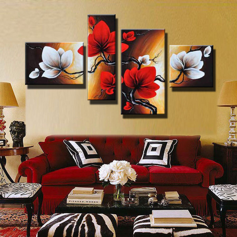 Modern Abstract Flower Oil Painting Hand Painted Red White Wall Art Canvas 4 Panel Home Decoration Picture For Living Room Sale (Sale No Framed) - SallyHomey Life's Beautiful