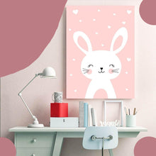 Load image into Gallery viewer, Kawaii Wall Art Canvas Nursery Poster Print Cartoon Cat Rabbit Painting Nordic Kids Decoration Picture Baby Living Room Decor - SallyHomey Life's Beautiful