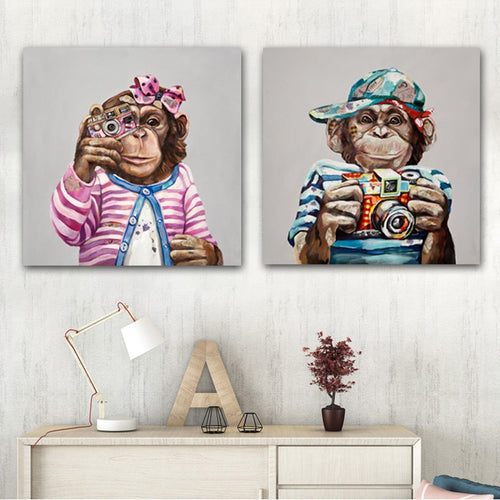 Modern Abstract Shooting Monkey in Colorful Clothes Cartoon Canvas Painting Animals Funny - SallyHomey Life's Beautiful