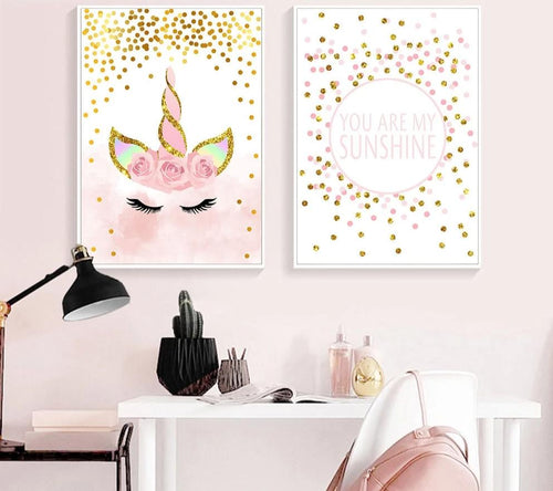 Pink Unicorn Poster Nursery Quotes Art Wall Canvas Print Painting Nordic Style Decorative Picture Baby Girl Bedroom Decoration - SallyHomey Life's Beautiful