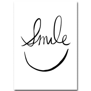 Smile Face Minimalist Art Canvas Poster Painting Abstract Motivational Black White Picture for Modern Home Office Room Decor 048 - SallyHomey Life's Beautiful