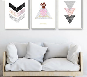 Marble Arrow Pineapple Wall Art Canvas Nordic Poster  Prints Abstract Painting Wall Picture for Living Room Home Decoration - SallyHomey Life's Beautiful