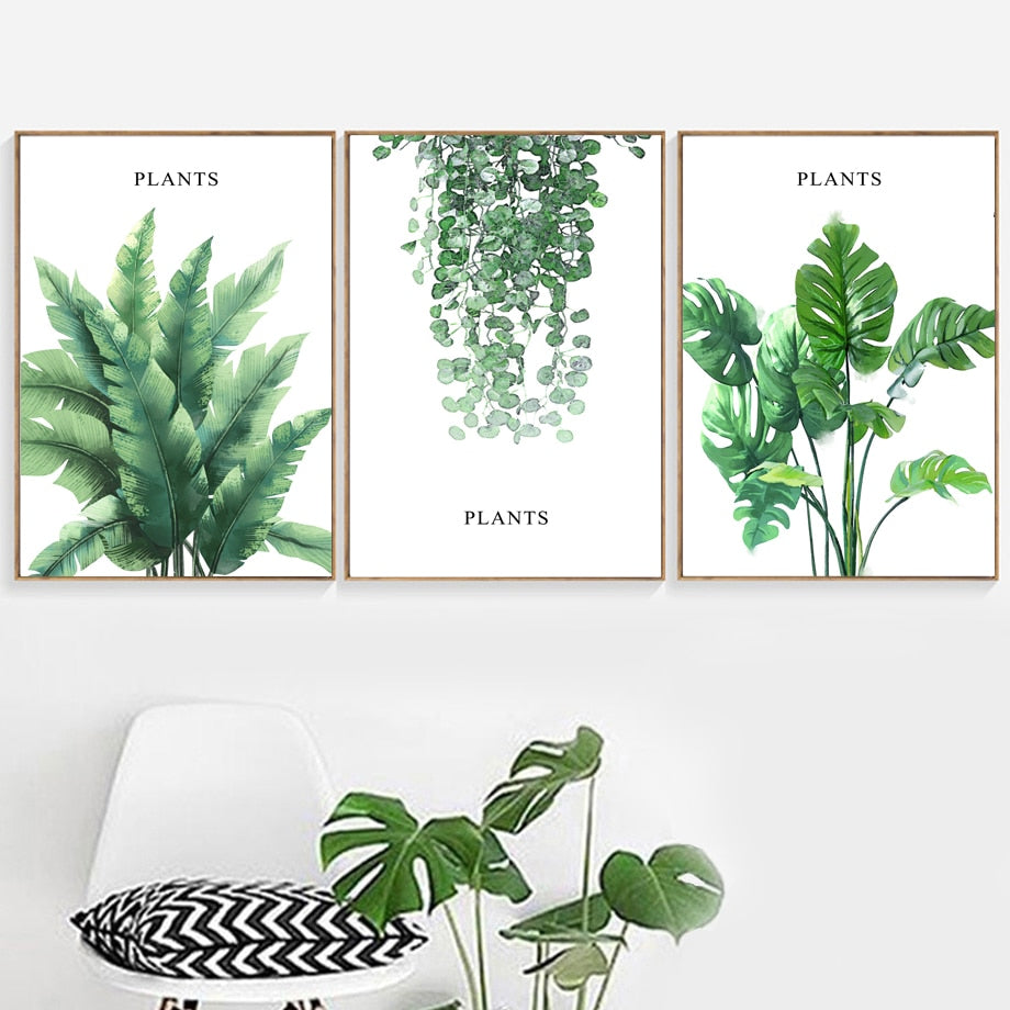 Banana Leaves Monstera Plants Wall Art Canvas Painting Nordic Posters And Prints Wall Pictures For Living Room Bed Room Decor - SallyHomey Life's Beautiful