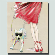 Load image into Gallery viewer, Modern Canvas Painting A Cool Dog With A Girl Oil Painting On Canvas Wall Paintings Picture For Living Room Wall Art Wall Decor - SallyHomey Life's Beautiful