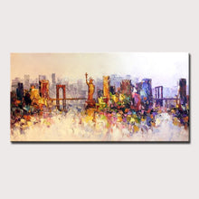 Load image into Gallery viewer, Mintura Hand Painted New York Building Picture Abstract Modern Palette Knife Oil Painting On Canvas Living Room Wall Art Decor - SallyHomey Life's Beautiful