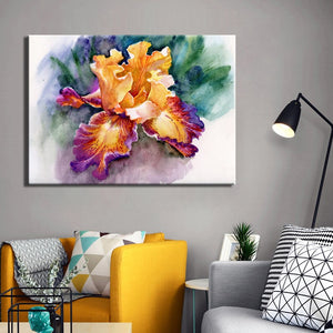 Posters and Print Wall Art Canvas Painting Wall Decoration Colorful Abstract Garden Iris Pictures for Living Room Wall Frameless - SallyHomey Life's Beautiful