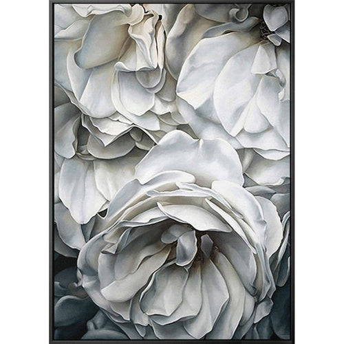 100% Hand Painted Super Realism White Flowers Petals Art Oil Painting On Canvas Wall Art Wall Painting For Live Room Home Decor