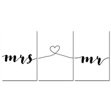 Load image into Gallery viewer, Mr Mrs Family Simple Quotes Wall Art Canvas Poster Minimalist Print Couple Anniversary Painting Picture for Living Room Decor - SallyHomey Life's Beautiful
