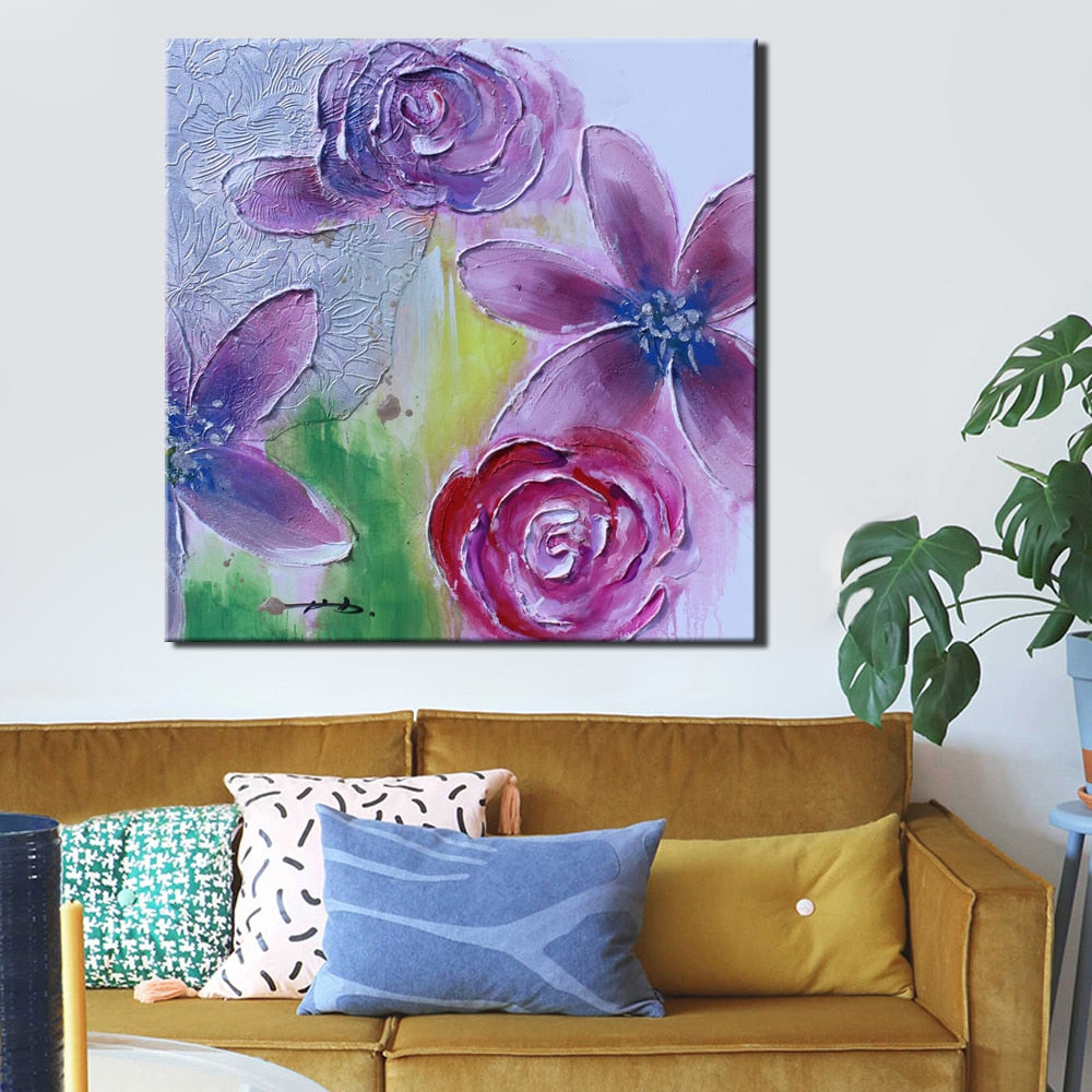 🔥70x70cm, Modern Paintings Canvas Wall Art Prints On Canvas Colorful Hand Painted Flowers Poster for Living Room Home Decor Gifts - SallyHomey Life's Beautiful