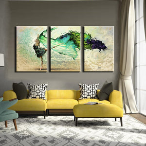 Modern 3Pcs Paintings Abstract Watercolor Dancing Girl Wall Art Printed Poster for Living Room Wall Decoration Canvas Painting - SallyHomey Life's Beautiful