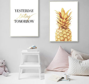 Pineapple Motivational Quotes Minimalist Art Canvas Poster Painting Wall Picture Print Modern Home Office Room Decoration - SallyHomey Life's Beautiful