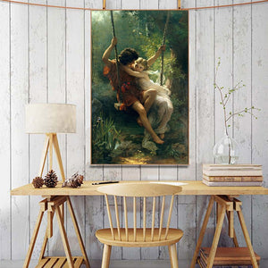 France Painter Pierre Auguste Cot's Springtime Posters Print on Canvas - SallyHomey Life's Beautiful