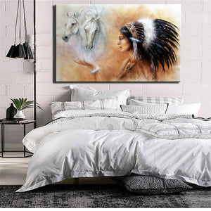 Large Size Poster And Prints Wall Art Canvas Painting Wall Pictures For Living Room Noble Indian Girl Feather Picture Decoration - SallyHomey Life's Beautiful