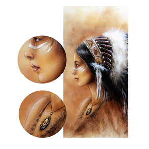 Modern Noble Feather Art Posters Prints On Canvas Indian Portrait Pictures for Living Room Wall - SallyHomey Life's Beautiful