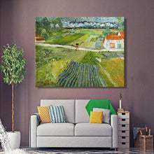 Load image into Gallery viewer, Landscape with Carriage and Train in the Background by Van Gogh, Poster Print on Canvas Wall Art Decorative Painting For Bedroom - SallyHomey Life's Beautiful