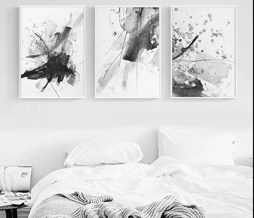 Black White Watercolor Abstract Realism Wall Art Canvas Posters and Prints Painting Wall Pictures for Living Room Home Decor - SallyHomey Life's Beautiful