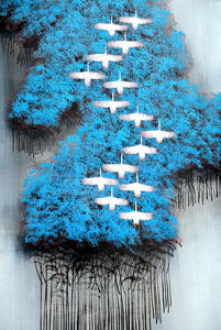 Abstract The Wild Geese Flying over the Forest Poster Prints on Canvas - SallyHomey Life's Beautiful