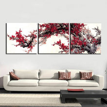 Load image into Gallery viewer, Traditional Chinese Wall Art Decoration Canvas Painting 3Panels Wintersweet Pictures for Living Room Wall Printed Posters - SallyHomey Life's Beautiful