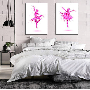 🔥Abstract Art Canvas Painting Pink Ballerina Canvas Art Print Poster For Living Room Wall Picture Home Decor Gift - SallyHomey Life's Beautiful