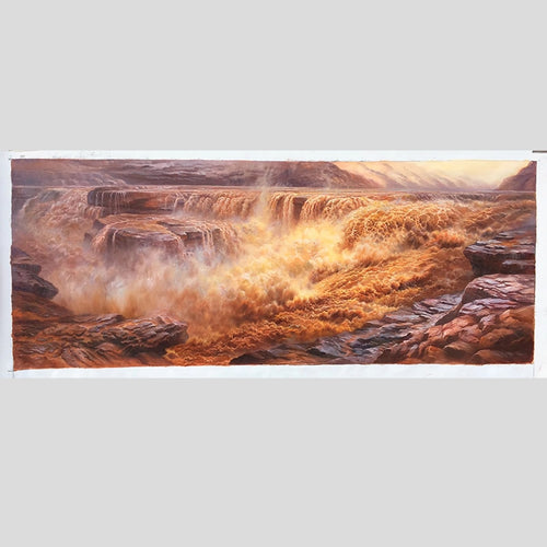 100% Hand Painted Realistic Yellow River Oil Painting On Canvas Wall Art Frameless Picture Decoration For Live Room Home Decor