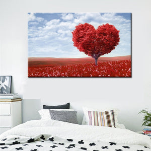 Modern Romantic Sea of Flowers Landscape Canvas Painting Red Love Tree Digital Print Poster Wall Art Picture for Home Decoration - SallyHomey Life's Beautiful