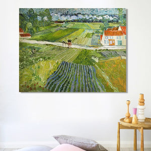 Landscape with Carriage and Train in the Background by Van Gogh, Poster Print on Canvas Wall Art Decorative Painting For Bedroom - SallyHomey Life's Beautiful
