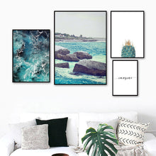 Load image into Gallery viewer, Sea Wave Stone Cactus Quote Landscape Wall Art Canvas Painting Nordic Posters And Prints Wall Pictures For Living Room Decor - SallyHomey Life's Beautiful