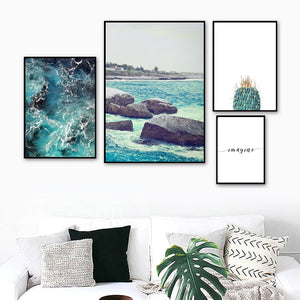 Sea Wave Stone Cactus Quote Landscape Wall Art Canvas Painting Nordic Posters And Prints Wall Pictures For Living Room Decor - SallyHomey Life's Beautiful