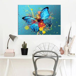 Modern Abstarct Oil Painting Posters and Prints Wall Art Paintings On Canvas Watercolor Ink Butterfly Pictures for Living Room - SallyHomey Life's Beautiful