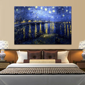 Famous Painting Posters and Prints Wall Art Canvas Painting Starry Night Over the Rhone by Van Gogh Home Decor For Living Room - SallyHomey Life's Beautiful