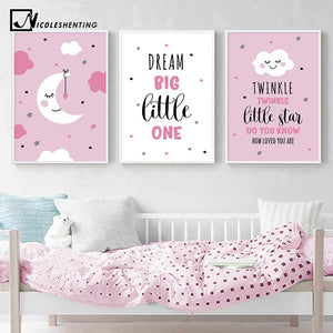 Cartoon Moon Canvas Art Poster Nursery Quotes Decorative Print Wall Painting Decoration Picture Nordic Kid Baby Bedroom Decor - SallyHomey Life's Beautiful