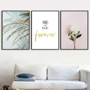 Palm Leaf White Flower Quotes Landscape Wall Art Canvas Painting Nordic Posters And Prints Wall Pictures For Living Room Decor - SallyHomey Life's Beautiful