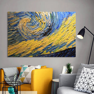 Modern Abstract Posters and Prints on Canvas Wall Art Painting Van Gogh Starry Sky Partial Pictures for Living Room Home Decor - SallyHomey Life's Beautiful