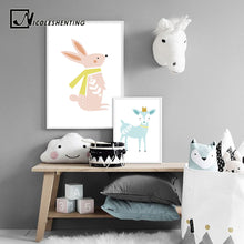 Load image into Gallery viewer, Baby Nursery Wall Art Canvas Posters Prints Cartoon Deer Rabbit Painting Nordic Kids Decoration Picture Children Bedroom Decor - SallyHomey Life's Beautiful