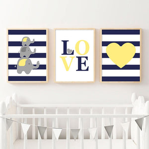 Children Poster Navy Blue Yellow Minimalist Wall Art Canvas Print Painting Decorative Picture Nordic Kid Baby Bedroom Decoration - SallyHomey Life's Beautiful