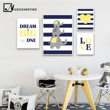 Load image into Gallery viewer, Children Poster Navy Blue Yellow Minimalist Wall Art Canvas Print Painting Decorative Picture Nordic Kid Baby Bedroom Decoration - SallyHomey Life's Beautiful
