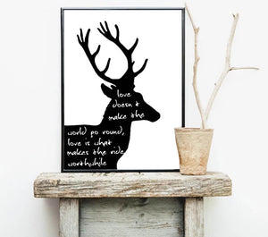 Nordic Style Deer Antlers Bible Canvas Poster Minimalist Wall Art Prints Black White Abstract Painting Picture Modern Home Decor - SallyHomey Life's Beautiful