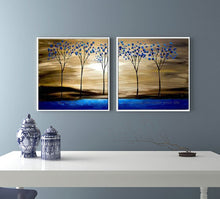 Load image into Gallery viewer, Decorative panels oil painting on canvas handmade blue tree tableaux peints la main tableau decoration murale salon for kitchen - SallyHomey Life's Beautiful