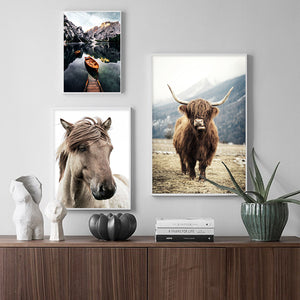 Scandinavian Poster Nordic Style Print Sheep Horse Cattle Animal Wall Art Canvas Painting Field Nature Picture Living Room Decor - SallyHomey Life's Beautiful