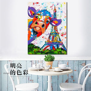 Abstract Watercolor Cow Effiel Tower Posters and Prints Wall Art Canvas Painting Wall Pictures Home Decor Dropshipping No Frame - SallyHomey Life's Beautiful