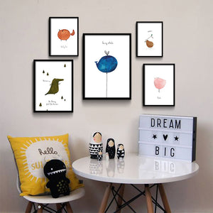 Cartoon Dinosaur Bird Minimalist Nordic Art Canvas Poster Painting Funny Modern Nursery Picture Kids Room Decor - SallyHomey Life's Beautiful